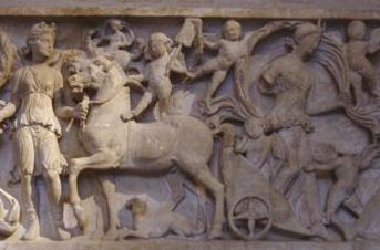 Tellus Mater, the Roman equivalent of Gaia, steps out of her chariot - detail of a sarcophagus in Glyptotheck in Munich
