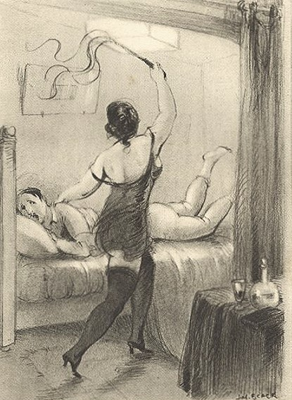 English: A woman flogging a submissive man on ...