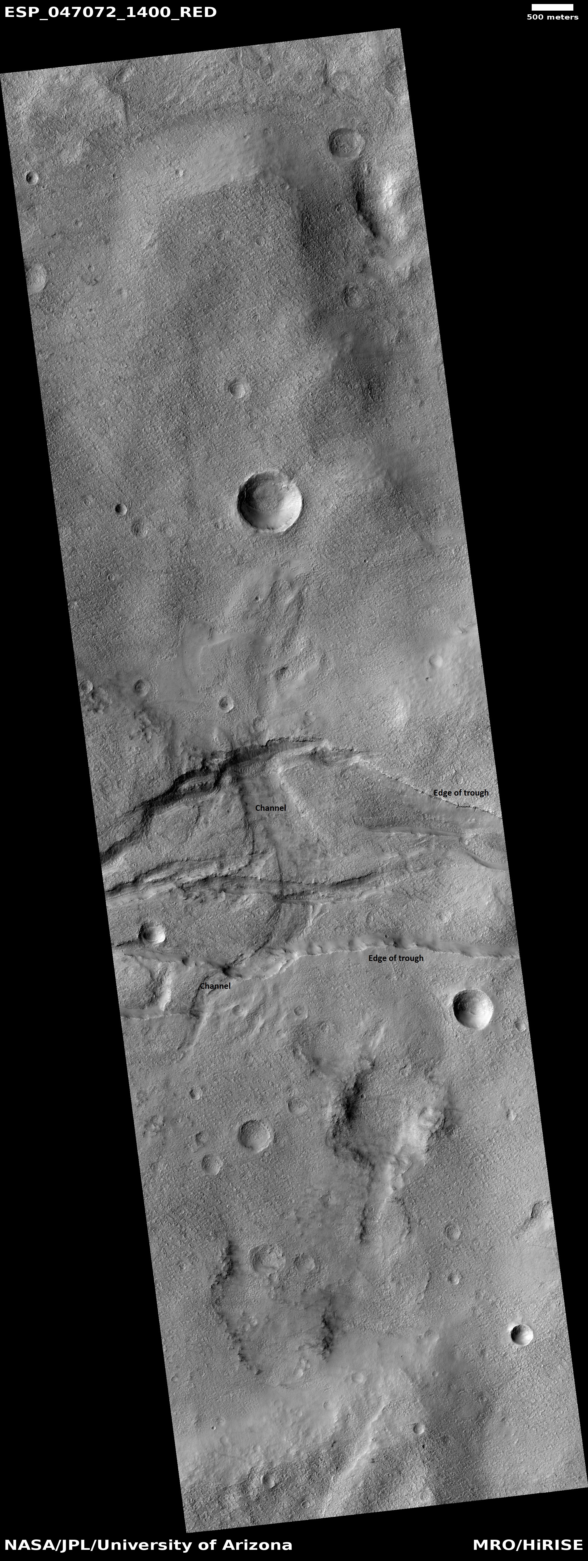 Channel cutting across trough, as seen by HiRISE under HiWish program The trough and channel are labeled.