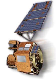 Artist's rendering of NASA's EO-1 spacecraft, which holds the Advanced Land Imager (ALI) instrument.  Image credit: NASA.
