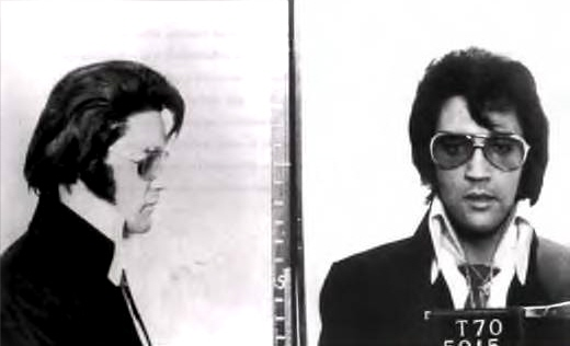 Mug shot of Elvis, possibly taken in 1970 at the FBI headquarters in Washington DC, when Elvis visit
