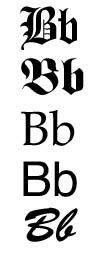 גופנים שונים של האות