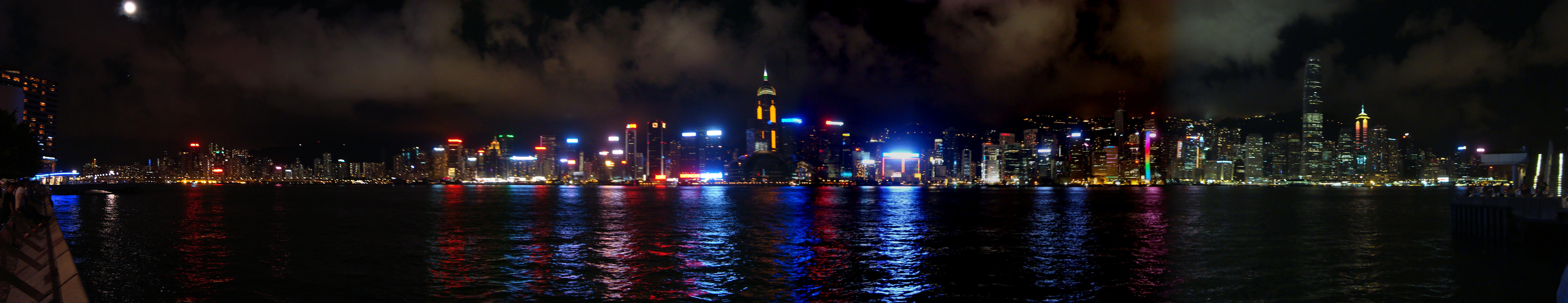 The panoramic night view of