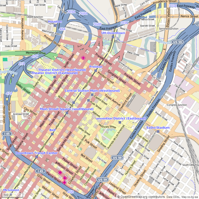 File Houston Downtown Map Png Wikimedia Commons