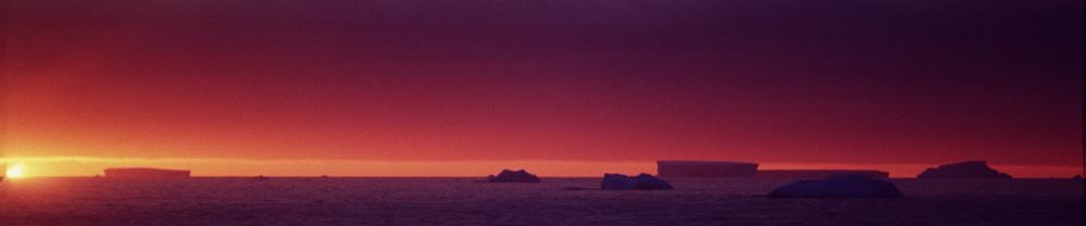 Tabletop icebergs at sunrise in Antarctica