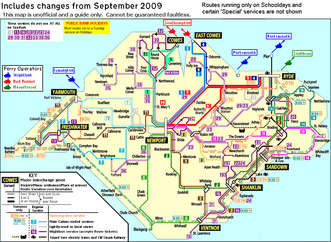 FileIsle of Wight public transport map September 2009png