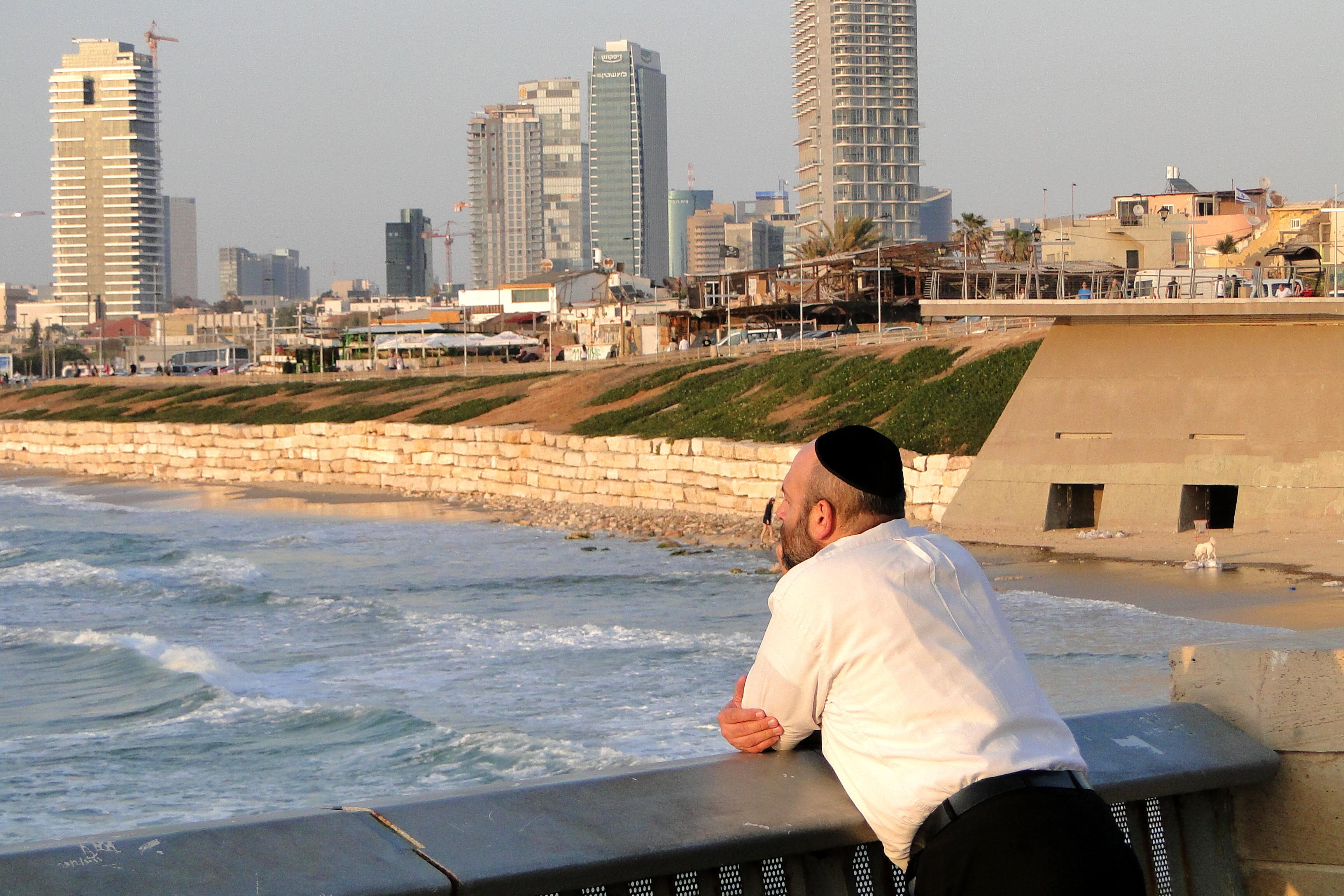 File:Jewish Man Looks Out over Tel Aviv Seashore - Yafo (Jaffa) -