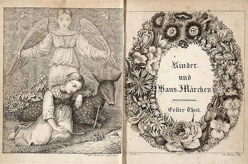 Frontispiece and decorative title page of 1819 edition of Brothers Grimm Kinder- und Hausmarchen, illustrated by Ludwig Emil Grimm, engraved by L. Haas. (Wikimedia Commons)