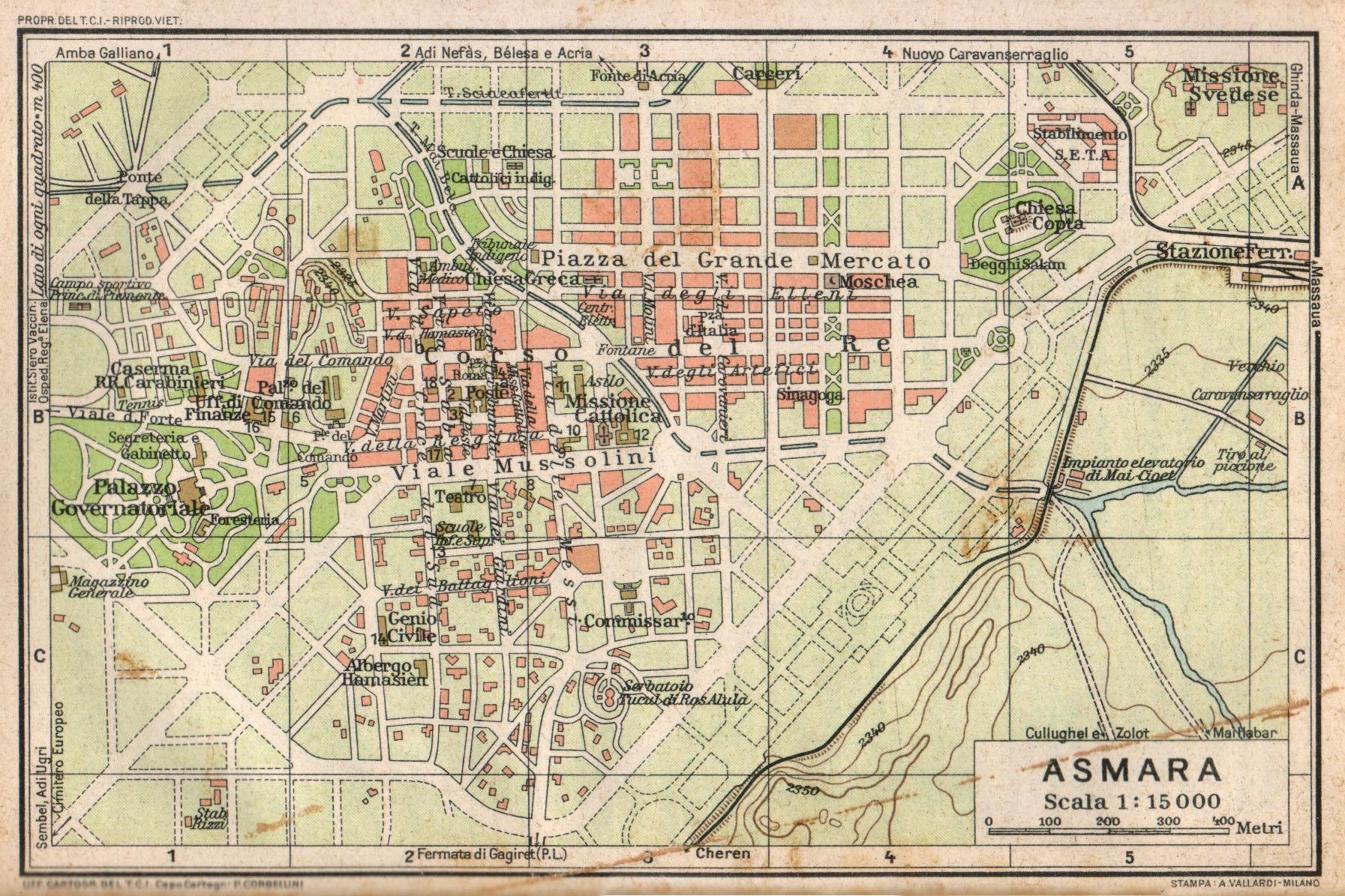Cartina Milano 800.File Mappa Di Asmara Tci 1929 Jpg Wikimedia Commons
