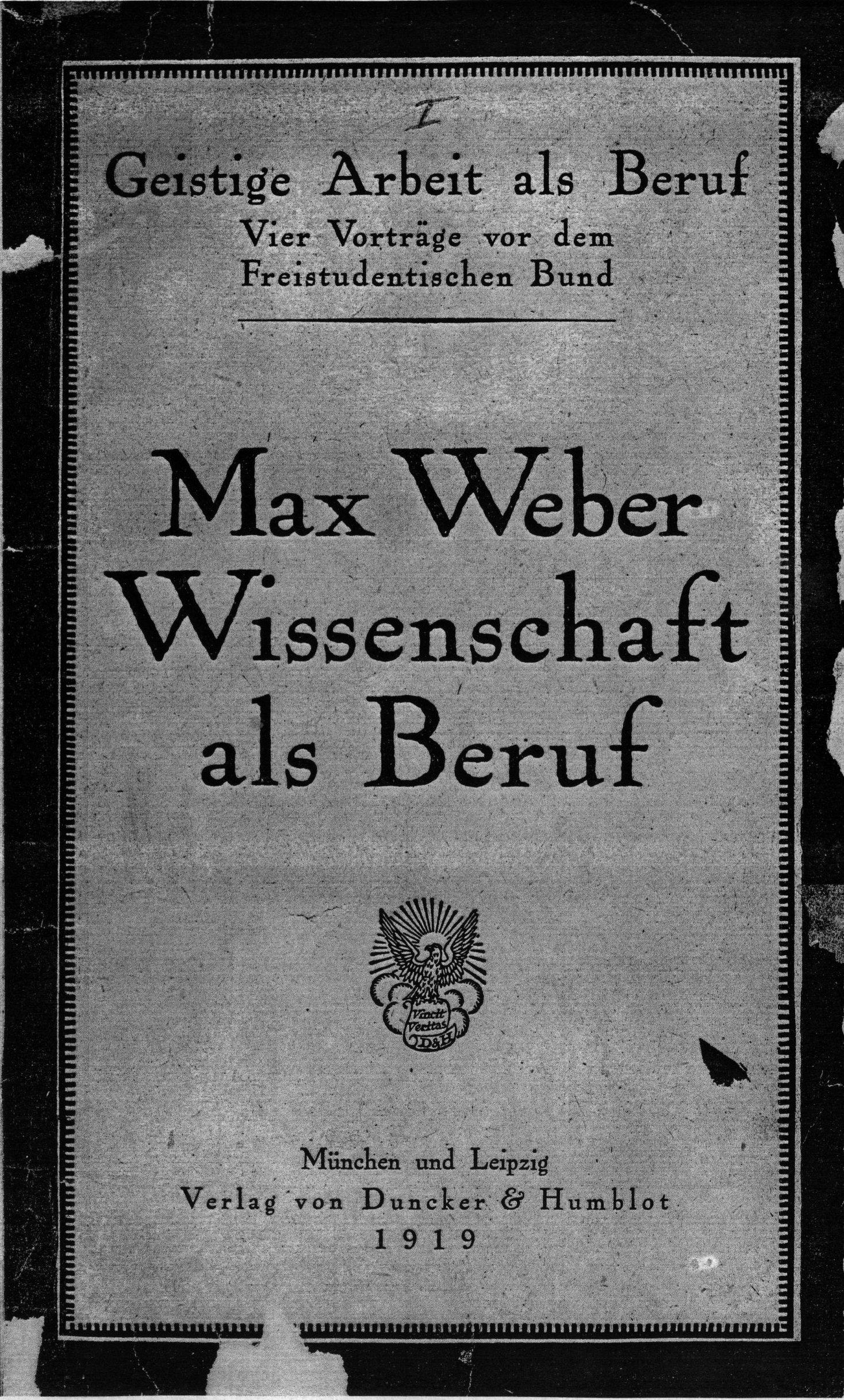 Weber La scienza come professione