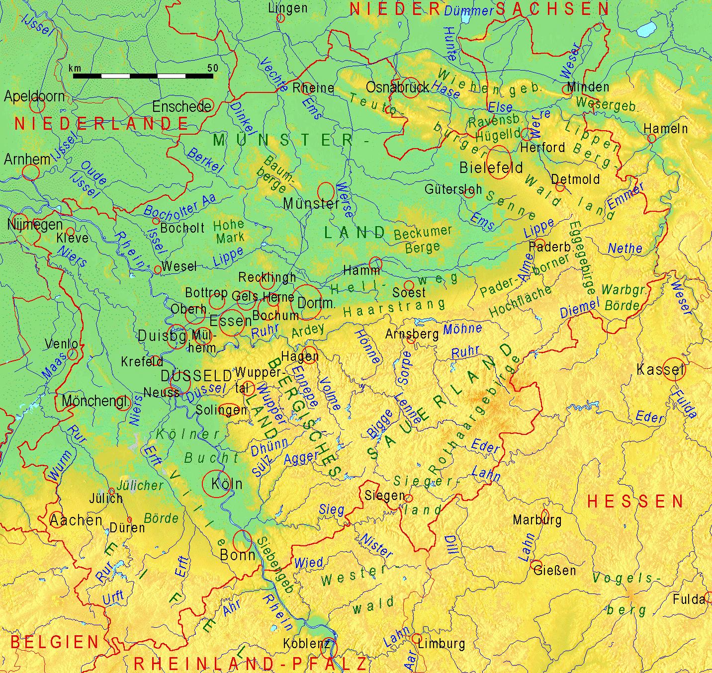 Fluss Karte Nordrhein Westfalen
