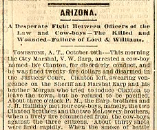 Newspaper story about the Gunfight at the O.K. Corral