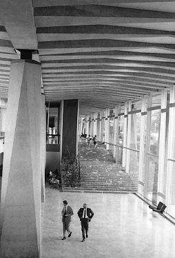 Patio of World Health Organization headquarters building, 1969.jpg