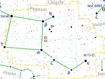 أول اكتشاف مثبت لكوكب خارجي Pegasus_51_location