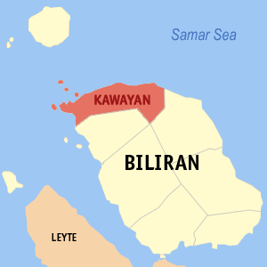 Map of Biliran showing the location of Kawayan