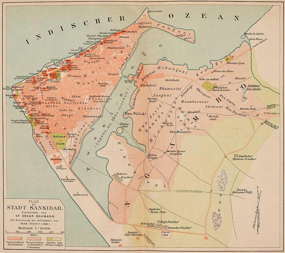 Stone town wikipedia map of zanzibar city by oscar baumann 1892 gumiabroncs Choice Image