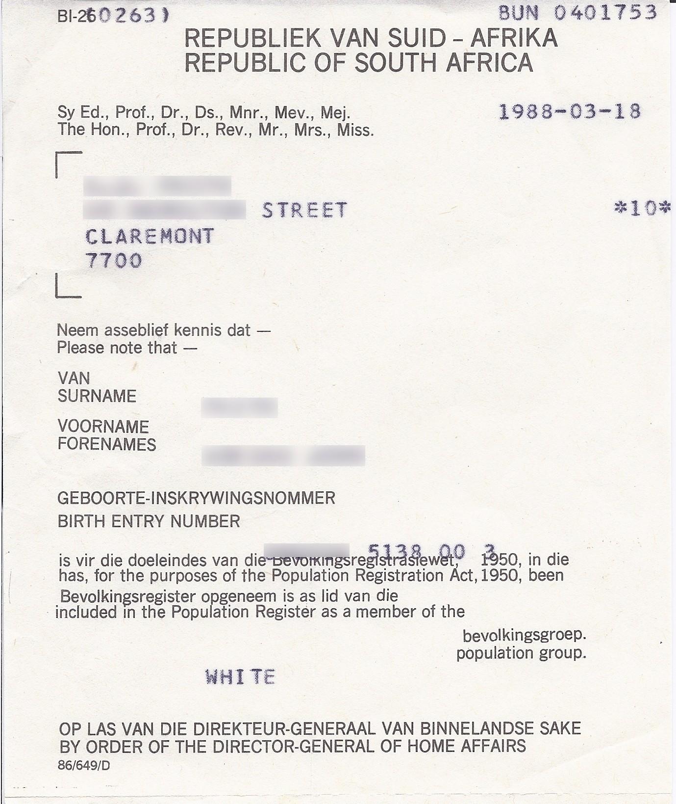 Description Population registration certificate South Africa 1988.jpg