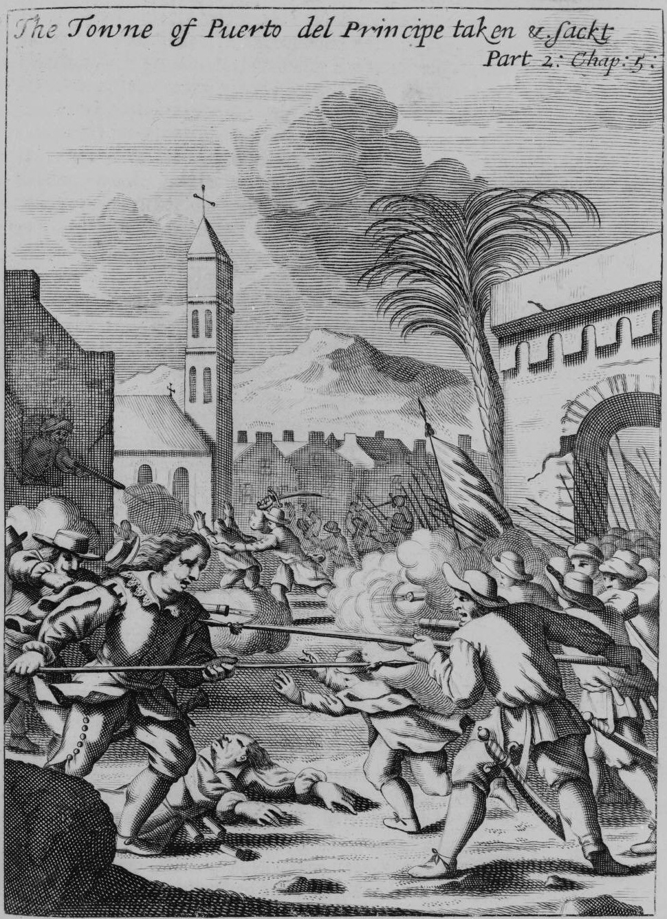 Archivo:Puerto del Príncipe - being sacked in 1668 - Project Gutenberg  eText 19396.
