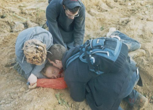 Corrie in the aftermath of the incident Rachel Corrie crushed by bulldozer.jpg