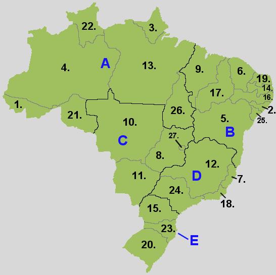ブラジルの地域と州の区分