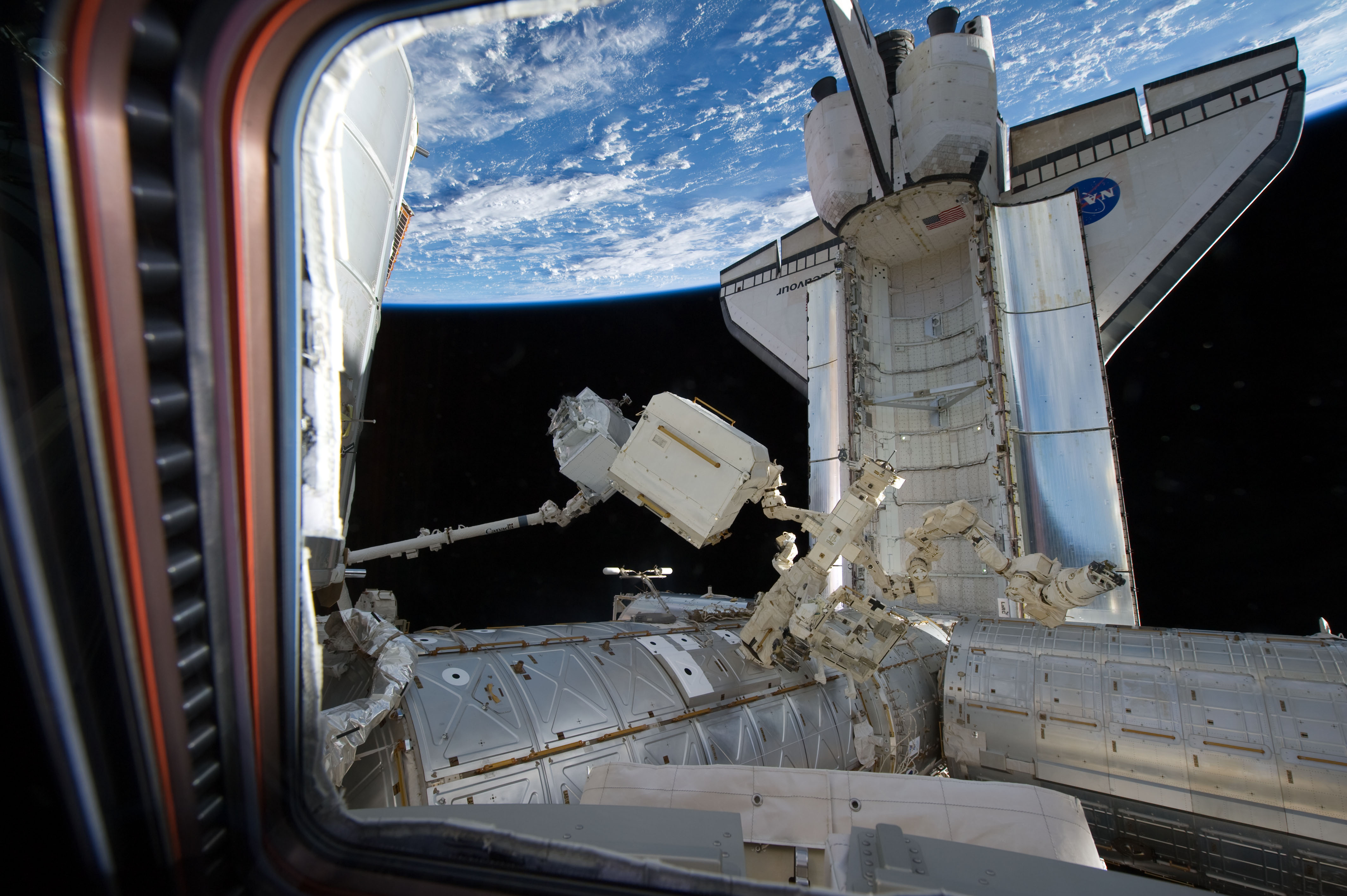 file sts 134 view from the cupola to space shuttle