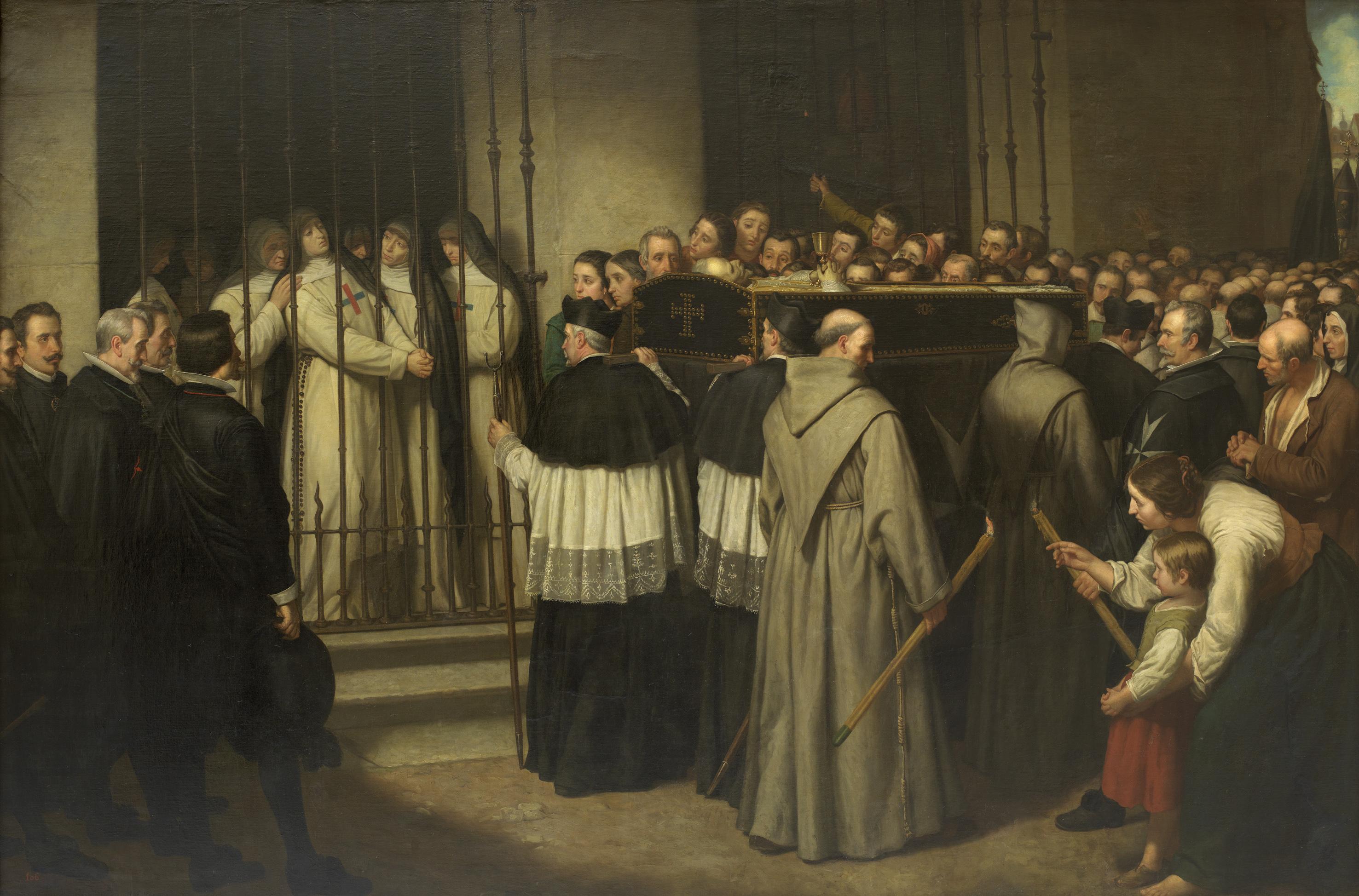 Sor Marcela de San Félix viendo pasar el entierro de su padre, Lope de Vega. Ignacio Suárez Llanos. 1862. (Museo del Prado, Madrid).