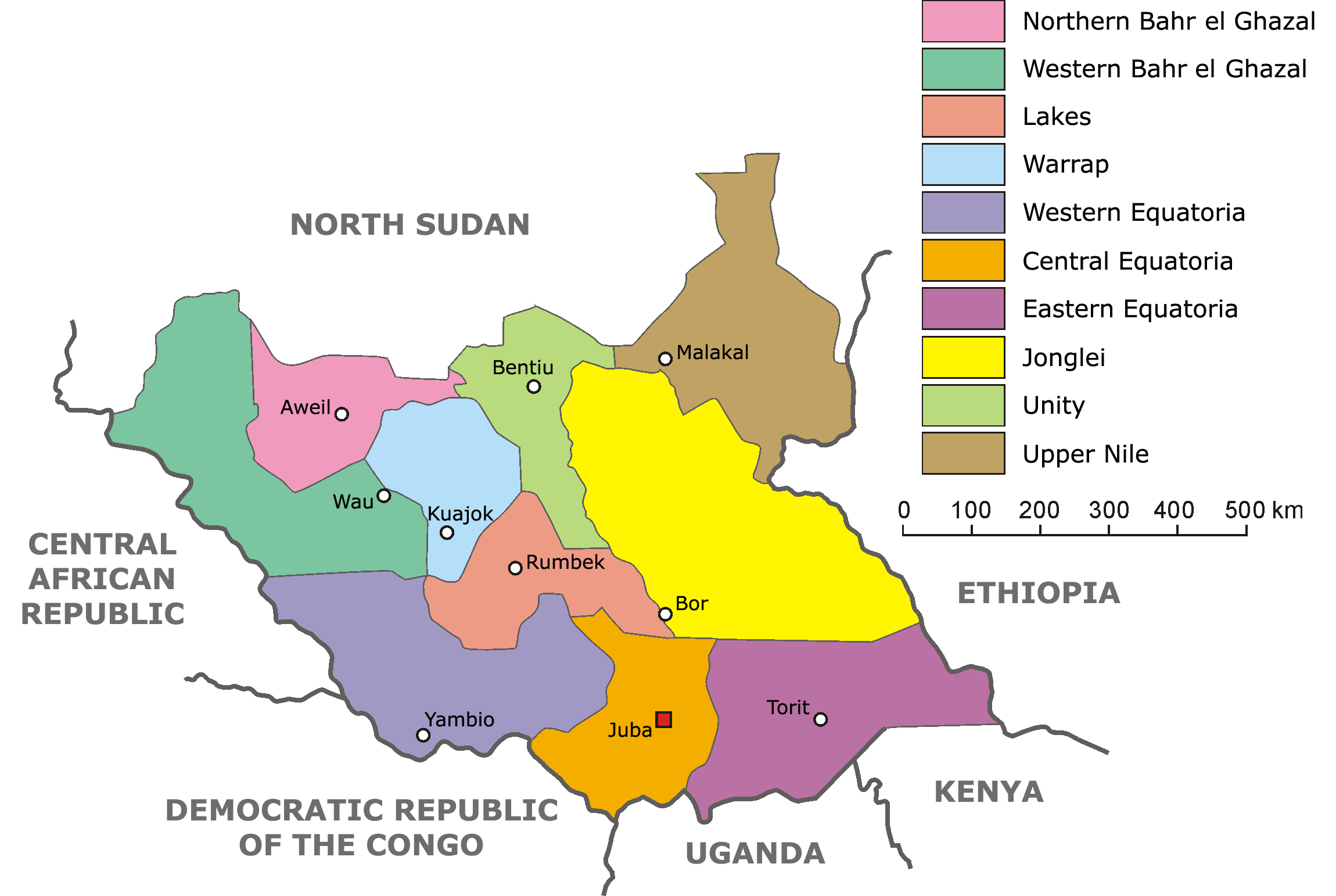 Political Map Of South Sudan.Atlas Of South Sudan Wikimedia Commons