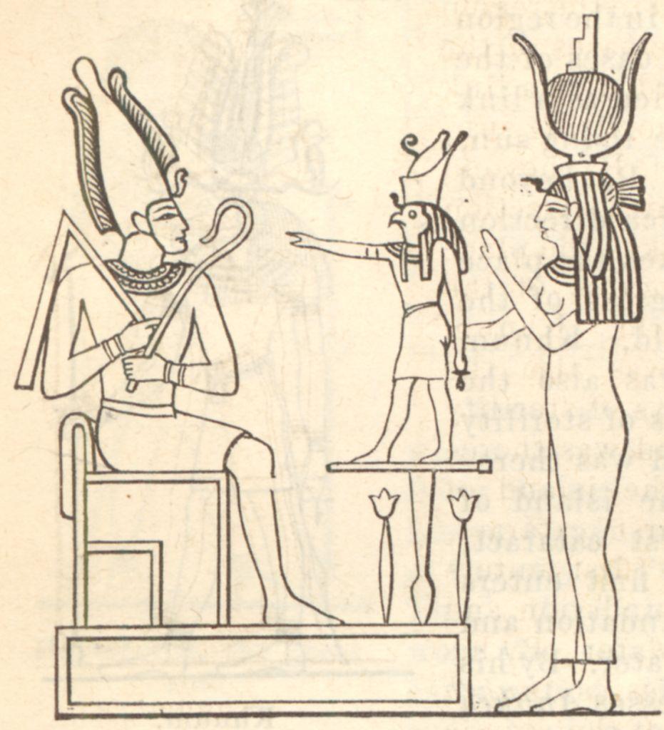 File:The mythological Trinity or Triad Osiris Horus Isis jpg