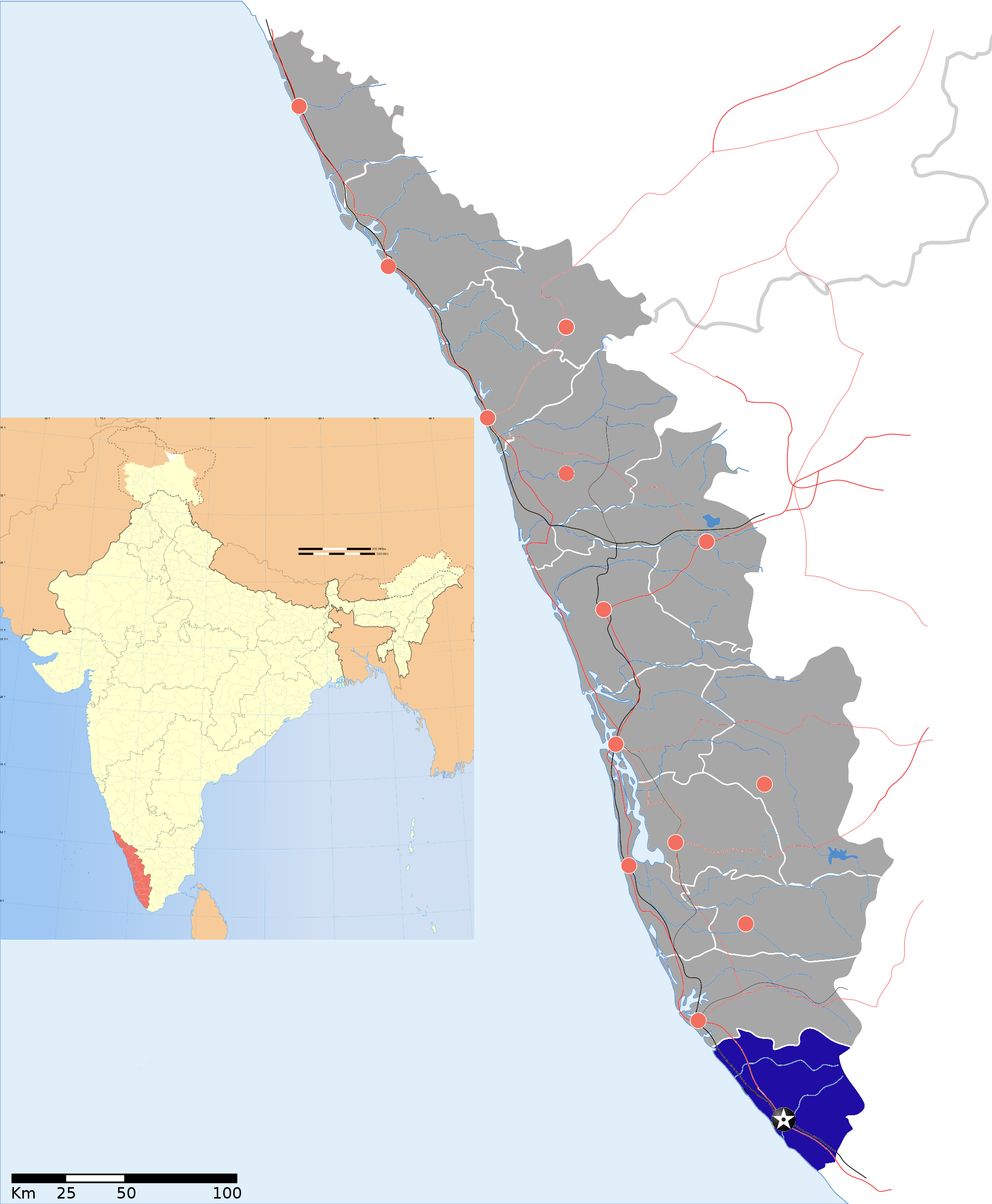Thiruvananthapuram district - Wikipedia on map of kerala state, map of kerala india, map of india cities, map of sri lanka cities, map of kerala backwaters, map of new york cities, map of punjab cities, map with miles calculation, map of chhattisgarh cities,