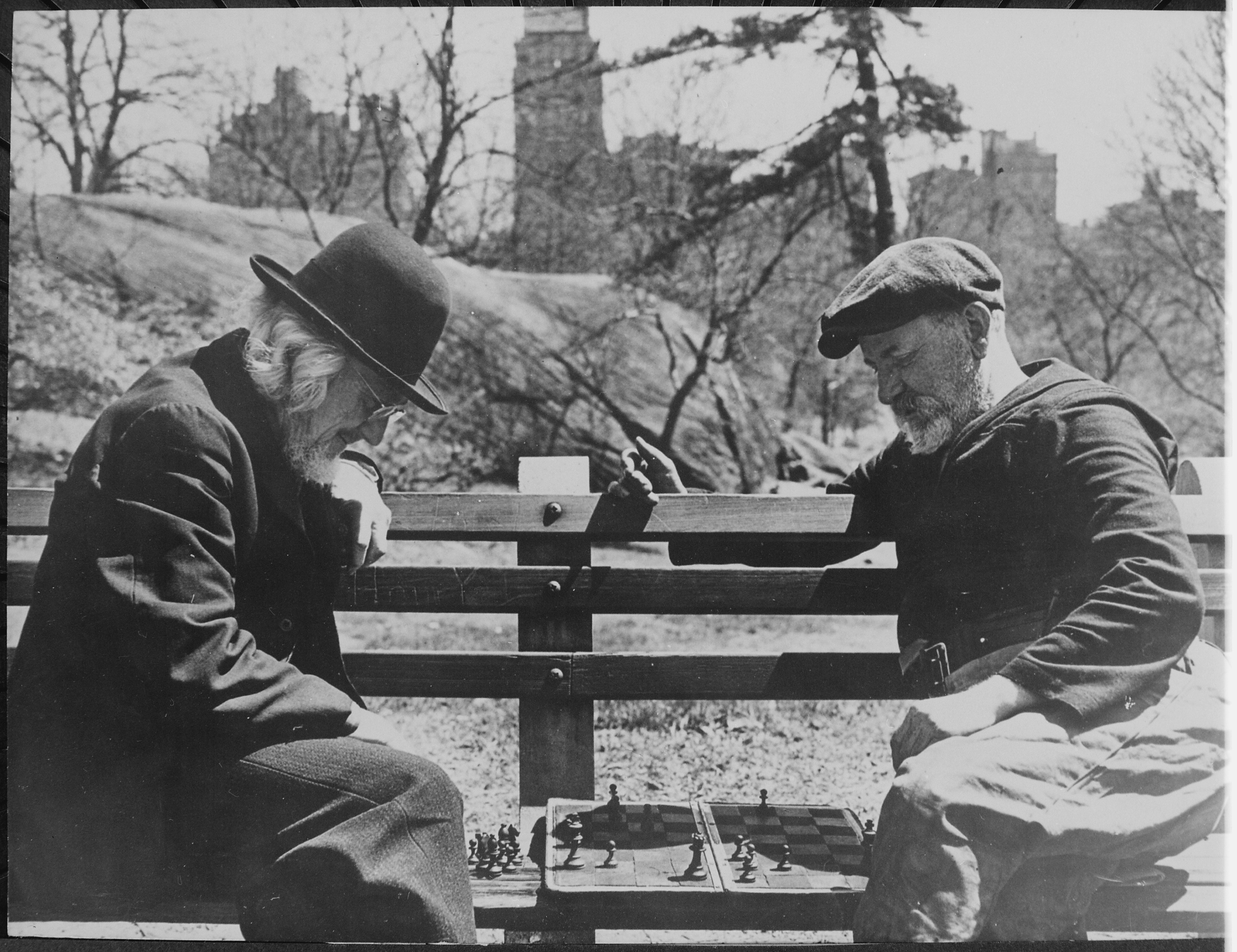 File Two Oldtimers Playing Chess On A Central Park Bench In New York