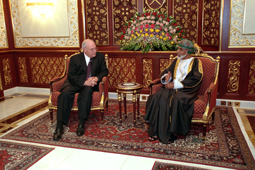 Sultan Qaboos meets with United States Vice President Dick Cheney during Cheney's visit to the Middle East in 2002. VP Cheney Sultan Qaboos Salah Oman 2002.jpg