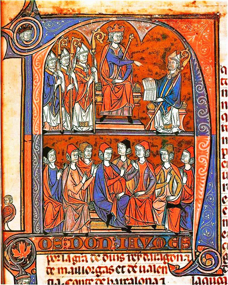 Caplletra N del Vidal Mayor, la primera compilació dels Furs d\u0027Aragó. Representa a Jaume I d\u0027Aragó rebent l\u0027obra de mans del bisbe català d\u0027Osca Vidal de ...