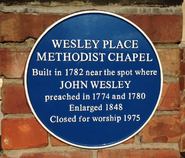 Photo of Wesley Place Methodist Chapel and John Wesley blue plaque