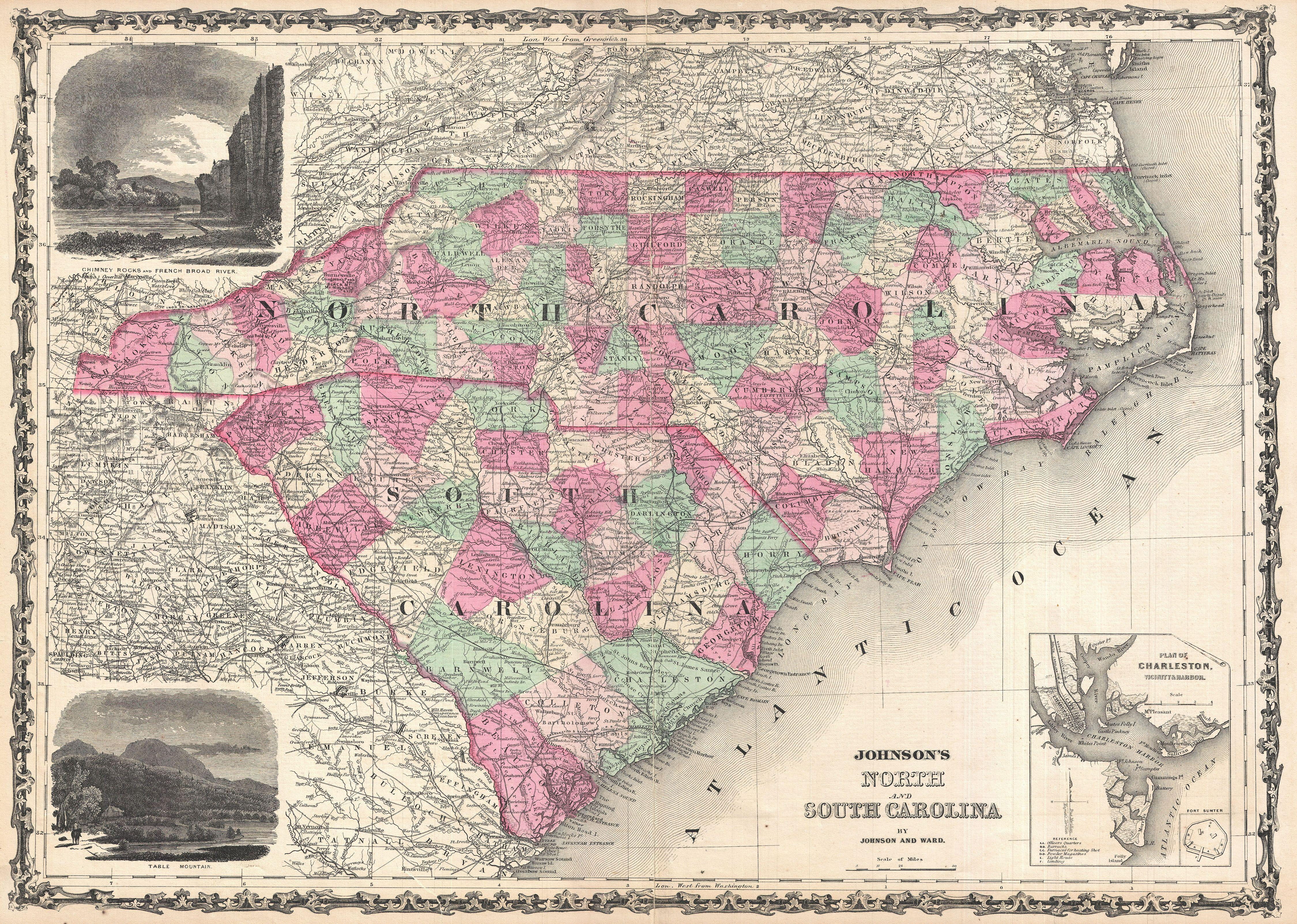 North South Carolina Map.File 1864 Johnson Map Of North Carolina And South Carolina