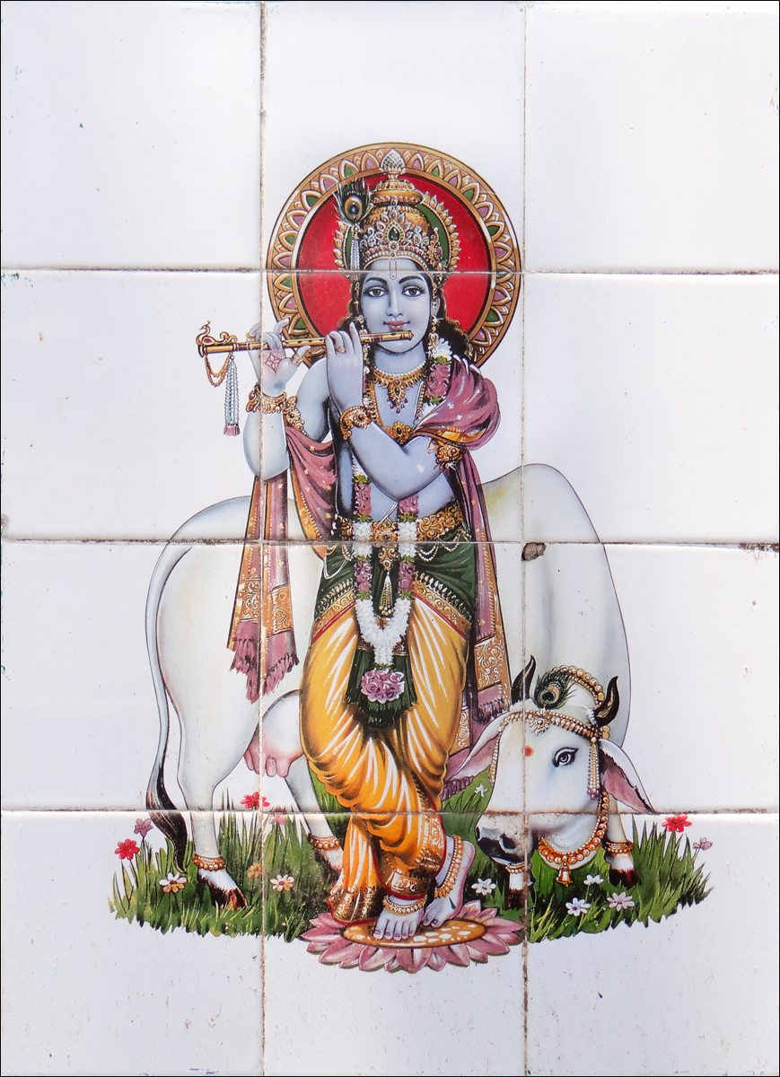 3 Hindu deity Krishna on ceramic tile at Munnar Kerala India 2014.jpg
