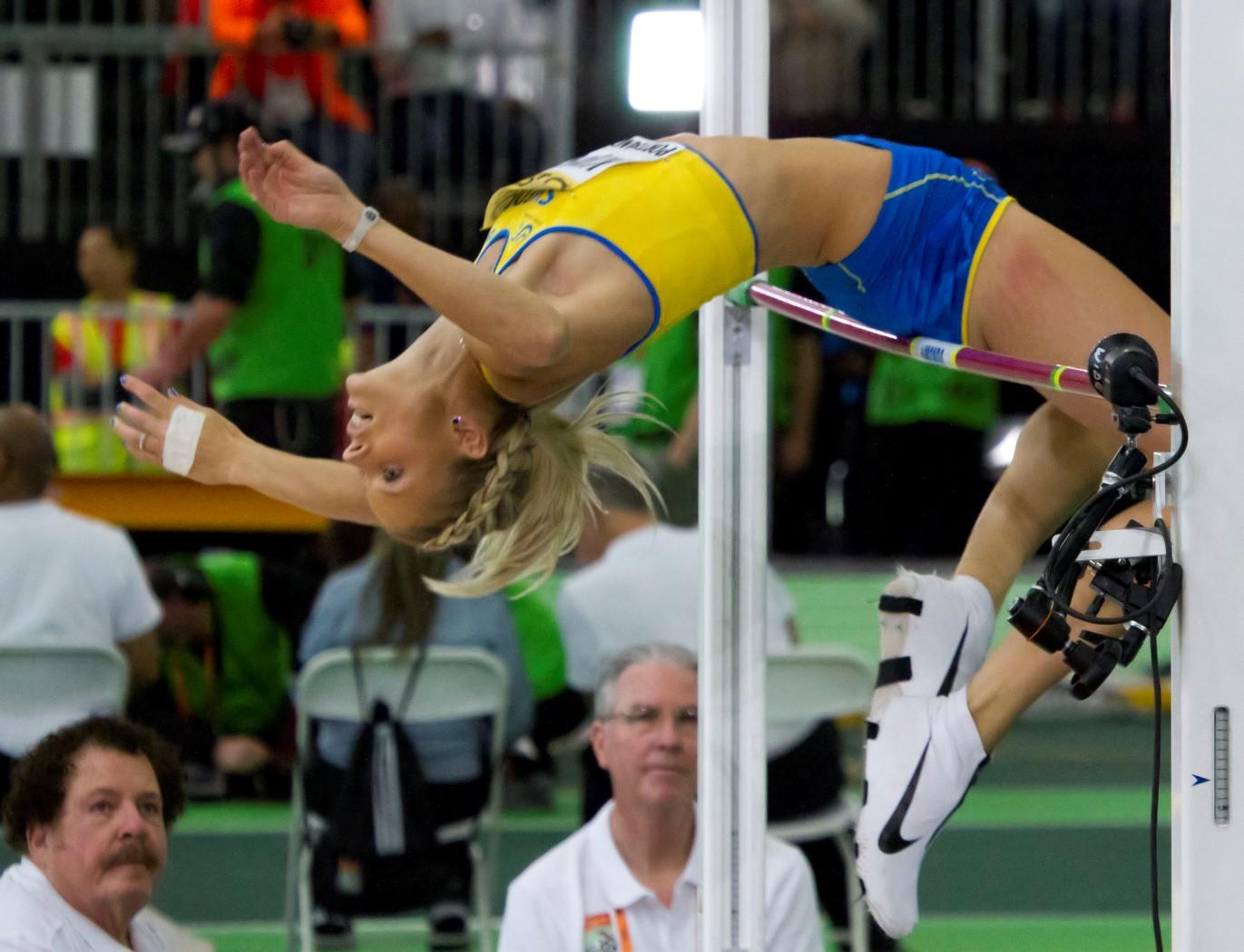Watch Kajsa Bergqvist high jumping video