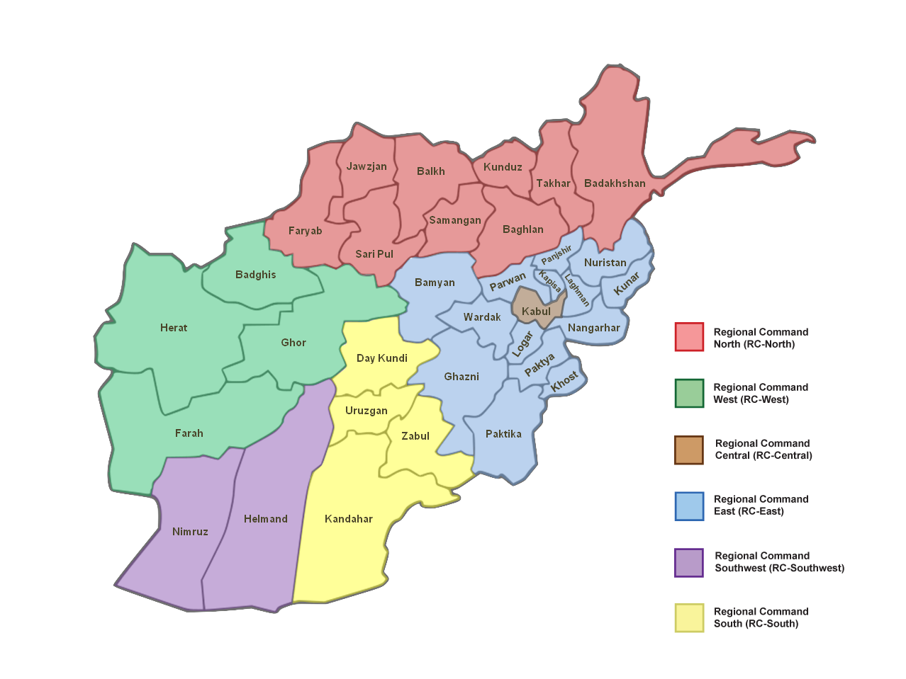 File Afghanistan Regional Commands With Provinces Png Wikimedia
