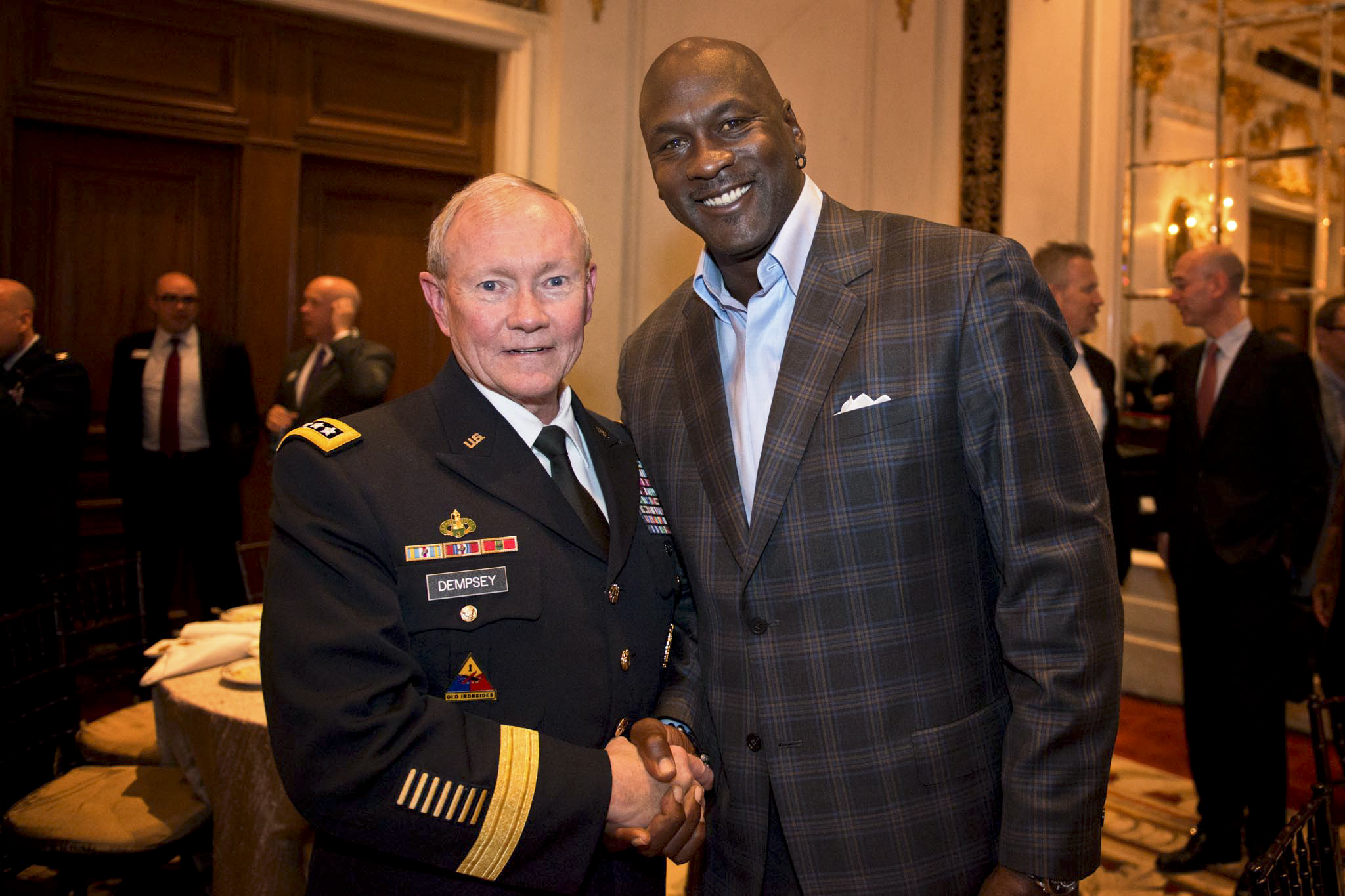 Martin E Dempsey Chairman Of The Joint Chiefs Staff And Michael Jordan Former Basketball Star Majority Owner Charlotte Bobcats