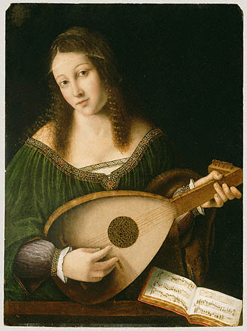 Bartolomeo Veneto Woman playing a lute Getty