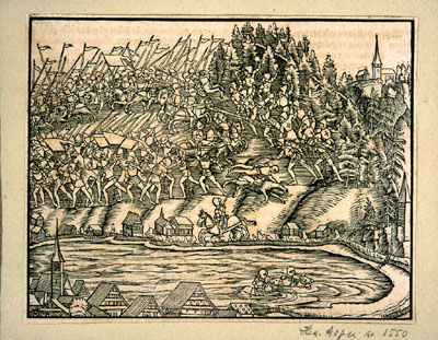 The Battle of Morgarten, the first battle of the new Confederation against the Habsburgs
