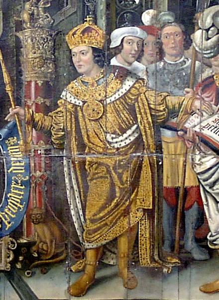 Lambert Barnard (1485-1567): Den hellige Caedwalla, murmaleri i katedralen i Chichester