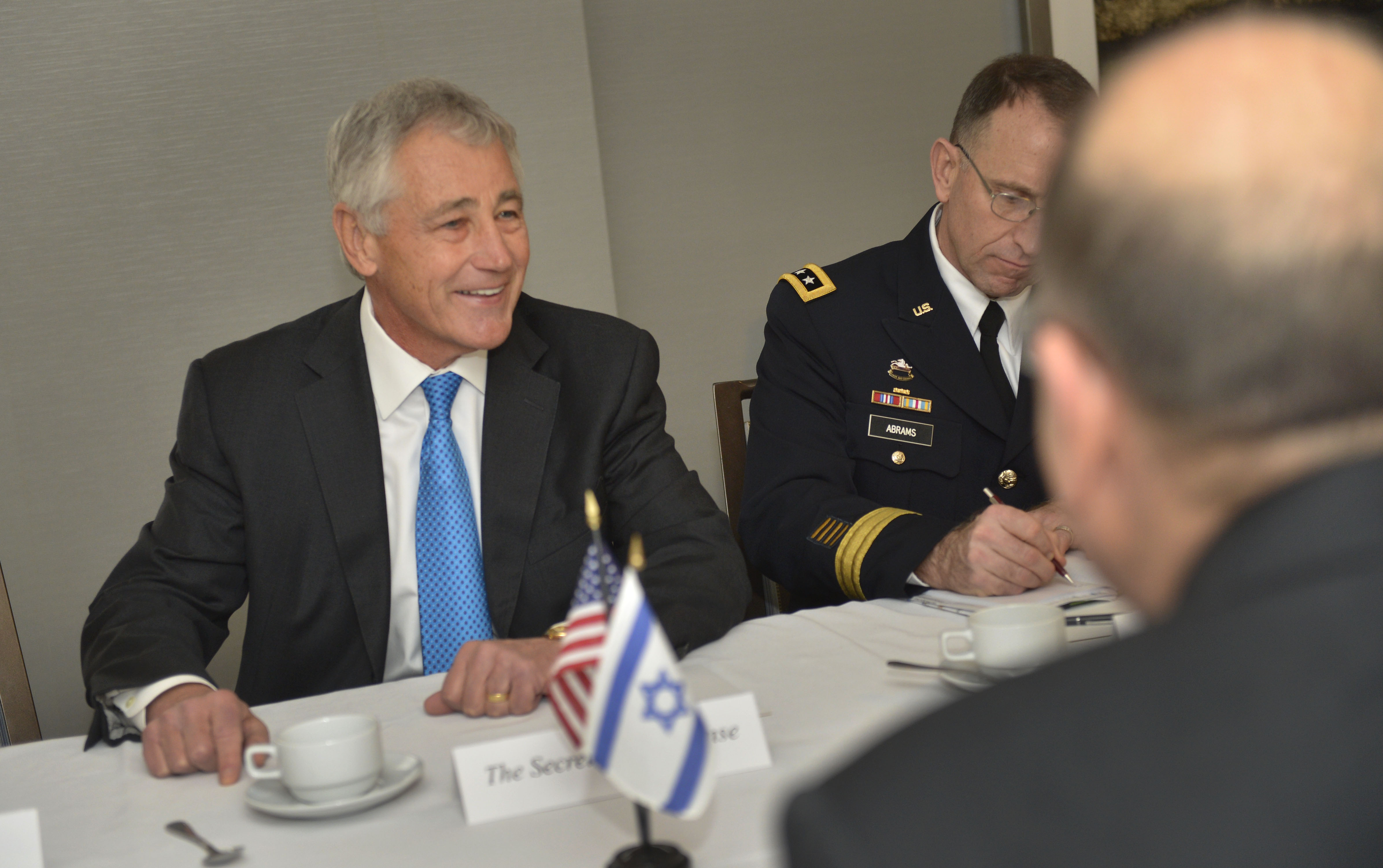 File chuck hagel talks with israeli defense minister moshe ya alon as