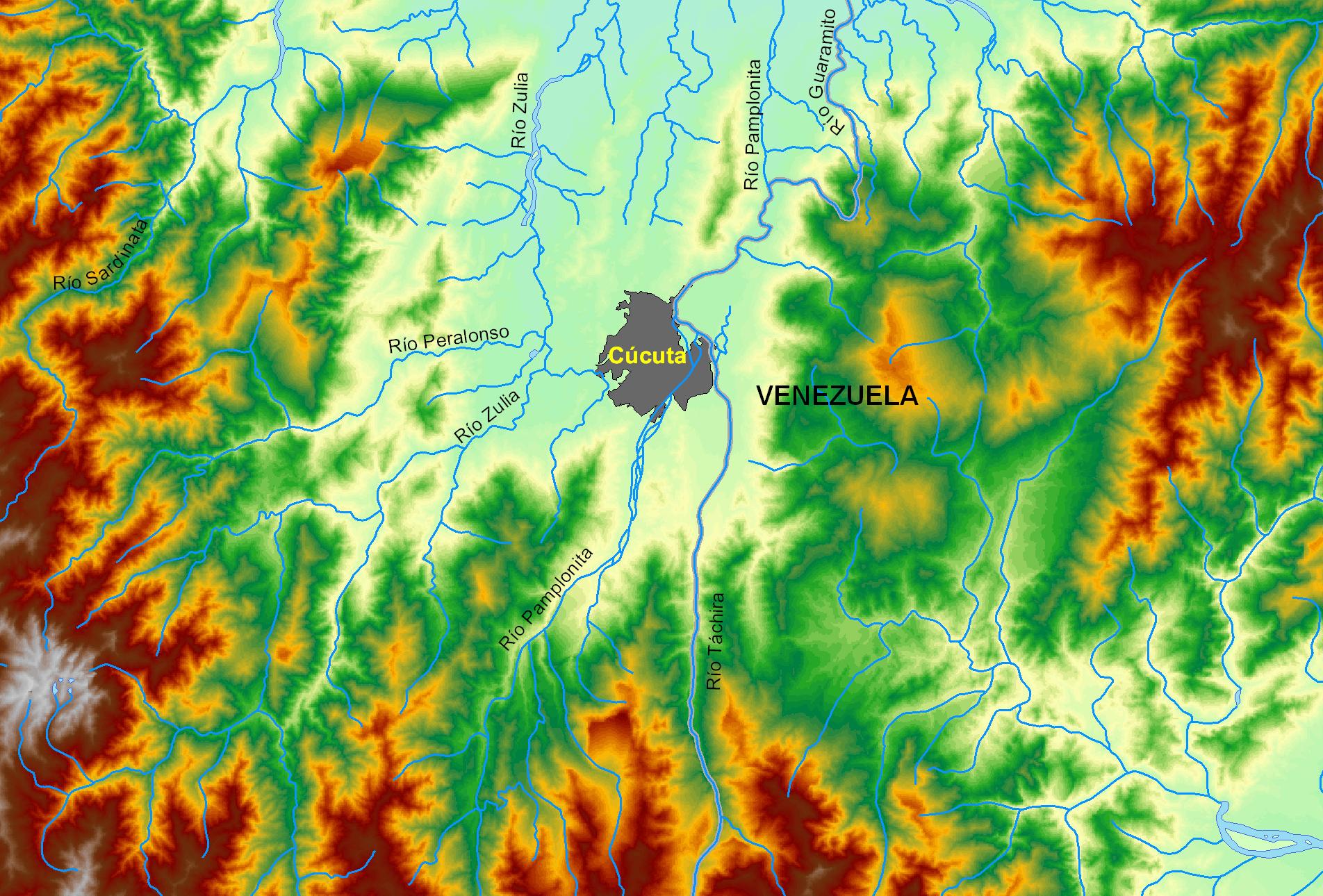 Mapa relieve Cúcuta, Colombia