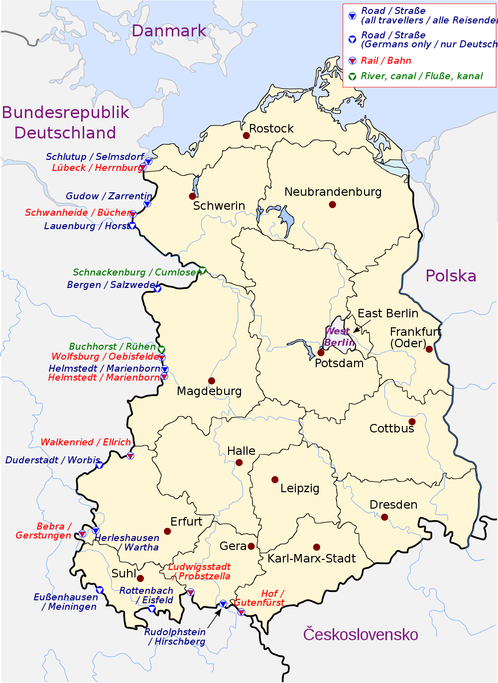 Which countries borders Germany in the east, west, south and north 59