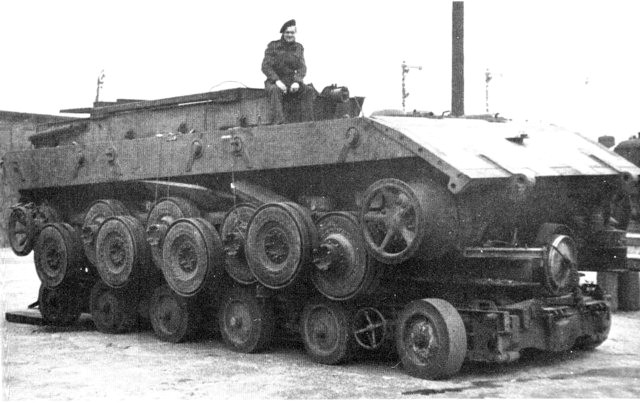 E-100 chassis on trailer as captured by British troops in 1945