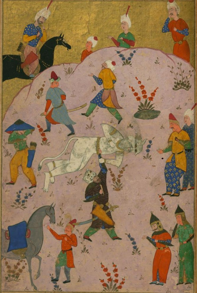 Firdawsi - Rustam Slays the White Div (the 7th Feat) - Walters W60091A (cropped).jpg
