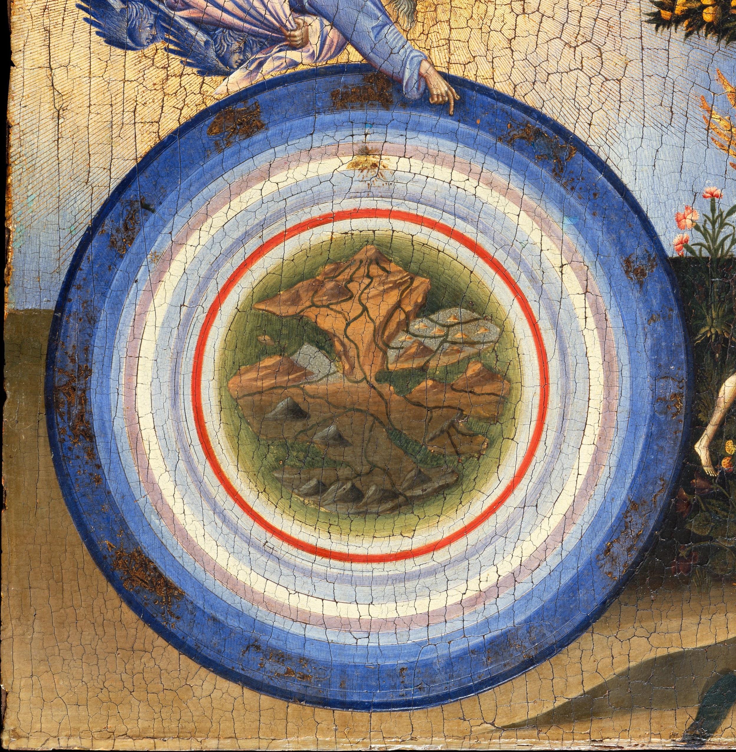 Mappa dei nove cieli ruotanti intorno alla Terra ad opera di Giovanni di Paolo 1445