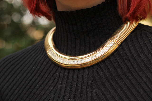 Givenchy Vintage Gold Choker with a High Neck Dress.jpg