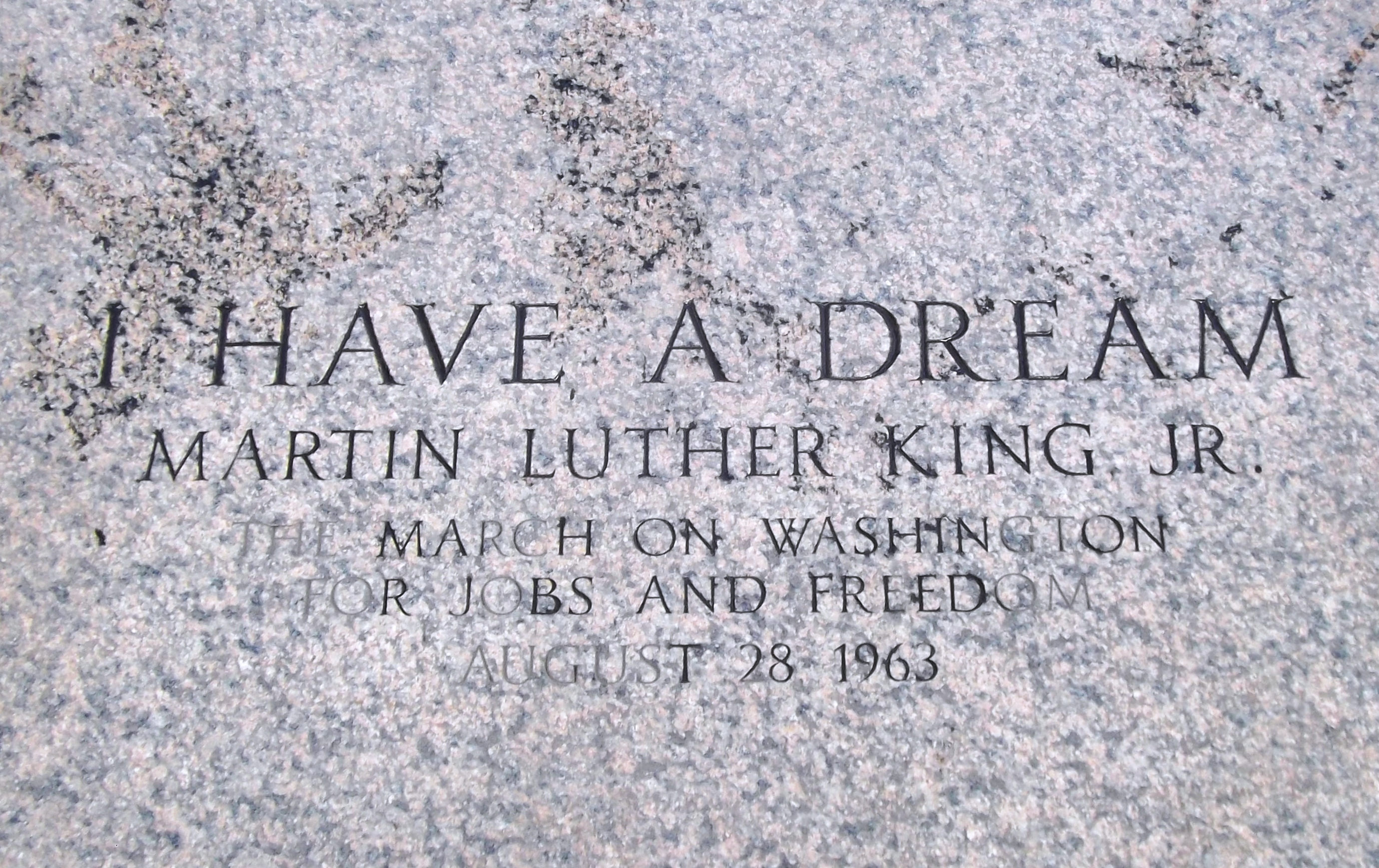 Inscription, steps of the Lincoln Memorial where King gave his speech