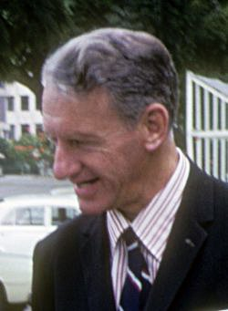 Prime Minister Ian Smith was surprised by Muzorewa's confrontational opening speech, but only antagonised the nationalists by saying so. Ian Smith 1975.jpg
